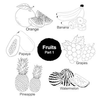 Coleta desenhada à mão de frutas frescas parte 1