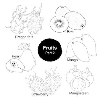 Coleta desenhada à mão de frutas frescas - parte 2