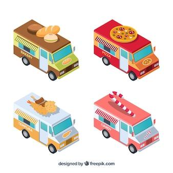 Coleta isométrica de caminhões de comida clássicos