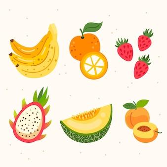 Coleta plana de frutas frescas