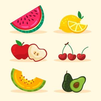 Coleta plana de frutas saudáveis