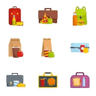 Coletar, alimento, ícones, jogo, caricatura, estilo
