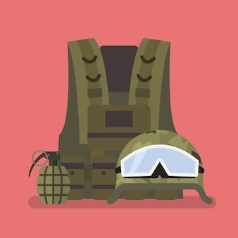 Colete capacete militar e granada de mão