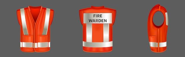 Colete de segurança vermelho com uniforme de listras reflexivas