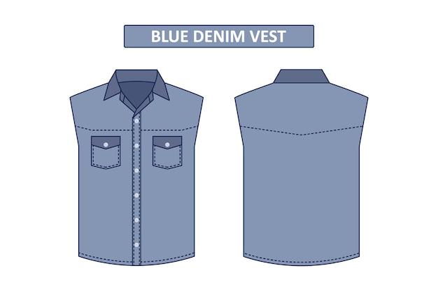 Colete jeans azul sem modelo de design de moda de vetor de manga