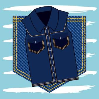 Colete jeans na textura de jeans de bolso