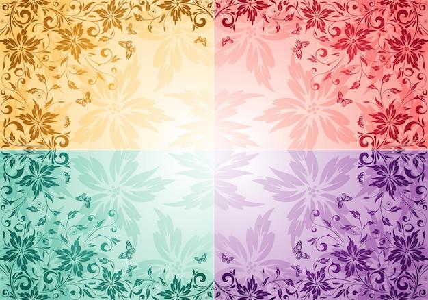 Colete o fundo da flor com borboleta, elemento de design, ilustração vetorial