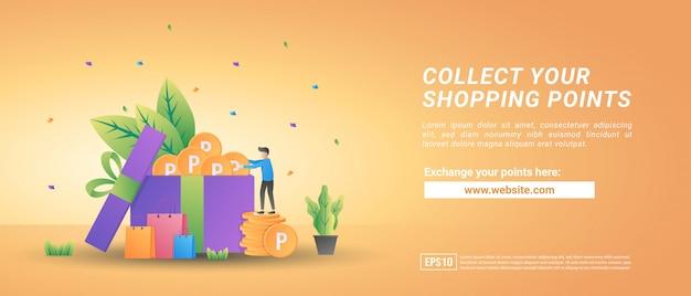 Colete pontos de compras online. troque pontos por vouchers. programa de recompensa para clientes fiéis