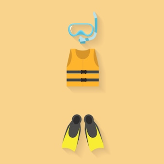 Colete salva-vidas com óculos e flipper