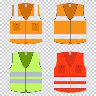 Colete segurança vector plana conjunto. jaqueta de construção em laranja, vermelho e verde claro com listras refletivas. uniformes isolados