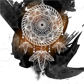 Coletor de sonhos estilo boho com padrão floral tribal étnico no fundo abstratos dos pincelados negros.