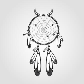 Coletor de sonhos indianos isolado no fundo branco