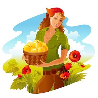 Colheita de maça. linda garota de fazenda com cesta de maçã. paisagem de outono, campo de papoula de trigo. estilo bonito de desenho animado