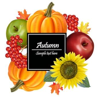 Colheita de outono com girassol e abóboras