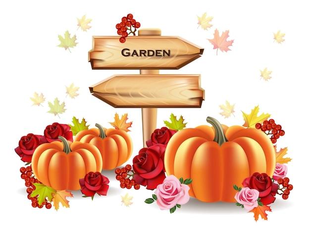 Colheita de outono de abóboras com sinal de madeira