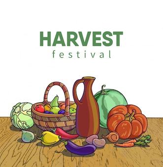 Colheita de outono. ilustração vetorial de grupo de muitas frutas e vegetais