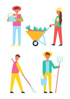 Colheita de pessoas icons set vector illustration