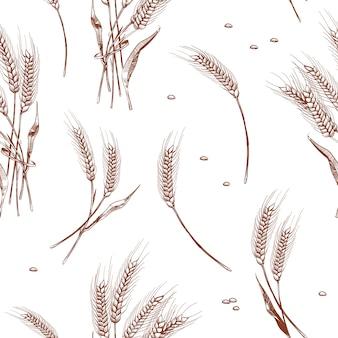 Colheita orgânica do trigo, fundo sem emenda da padaria. padrão sem emenda com ilustração de orelhas de trigo