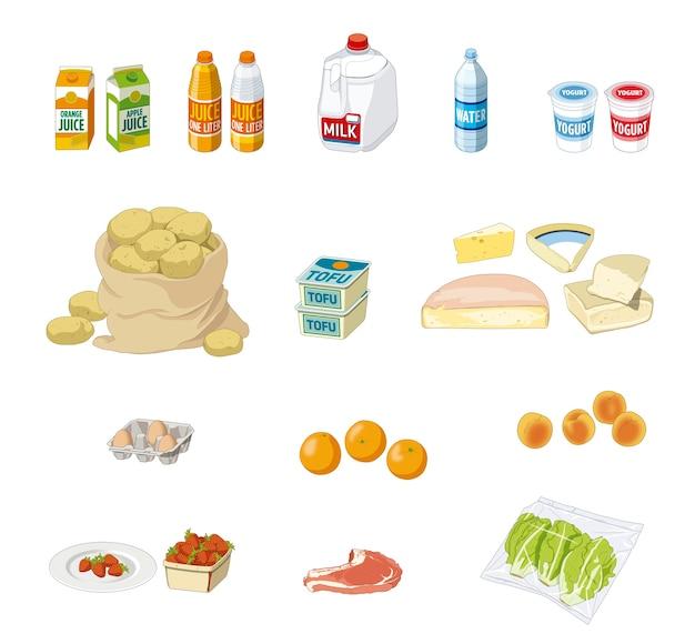 Colheita variada de alimentos e bebidas