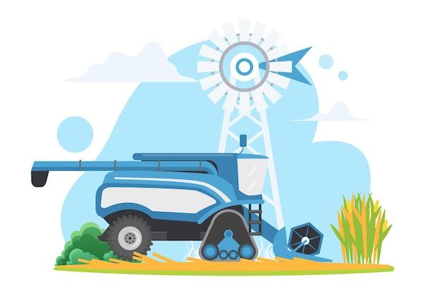 Colheitadeira agrícola combinada no campo da aldeia, maquinaria agrícola da fazenda trabalhando