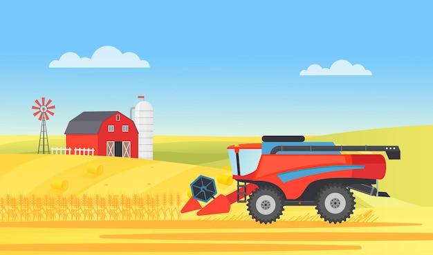 Colheitadeira de fazenda de trigo trabalhando na paisagem rural de uma vila, agricultura, colheita, trabalho