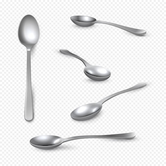 Colher de metal realista. colher de chá de prata 3d em branco, colher de sopa brilhante de aço inoxidável
