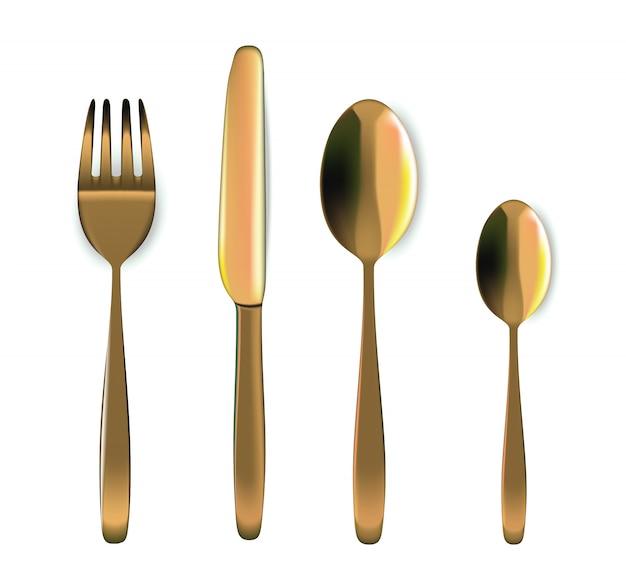 Colher de ouro realista, garfo e faca na mesa de jantar para alimentos