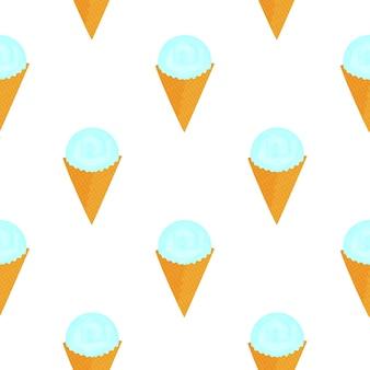 Colher de sorvete em um padrão sem emenda de cone waffle.