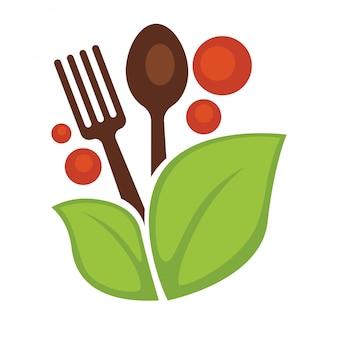 Colher e garfo de folhas vegetais de comida vegan