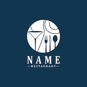 Colher garfo faca copo de vinho logotipo simples para restaurante