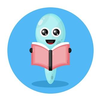 Colher lendo um livro com logotipo de personagem fofo