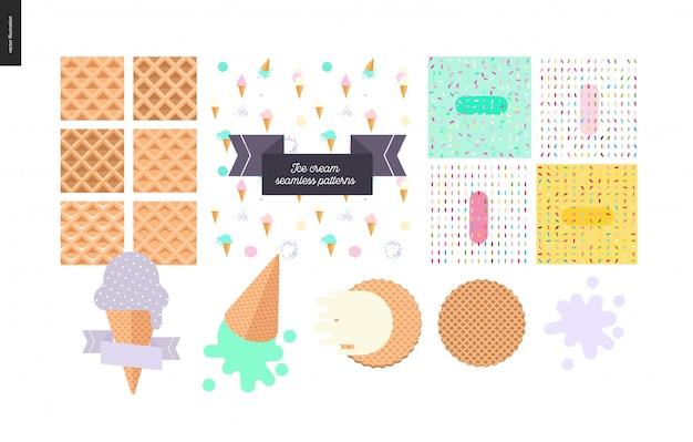 Colheres de sorvete em cones de waffle definido em branco