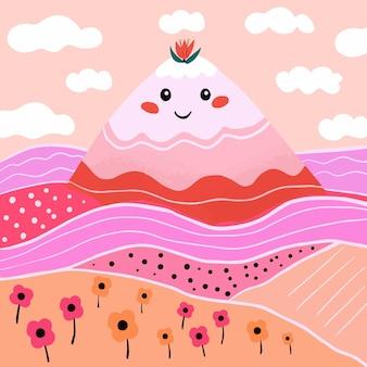 Colina de paisagem bonita e campos delicioso estilo colorido. ilustração vetorial
