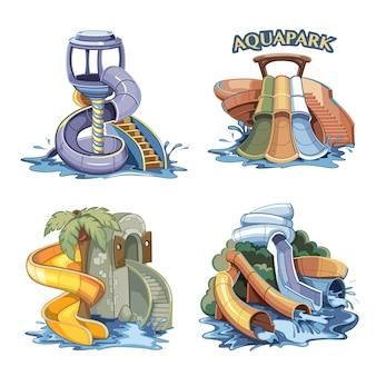 Colinas de água desenhada mão no conjunto parque aquático