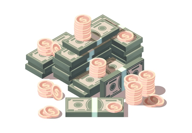 Colinas de dinheiro. dólares e moedas financia o conceito de negócio do vetor de símbolos isométricos. investimento financeiro em dólares, pilha de dinheiro, renda de riqueza de ilustração