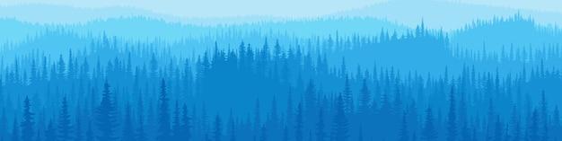 Colinas e montanhas cobertas por floresta