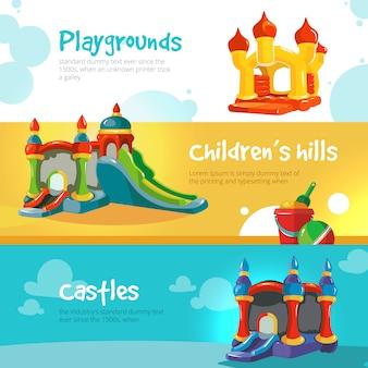 Colinas infláveis de castelos e crianças no banner de recreio