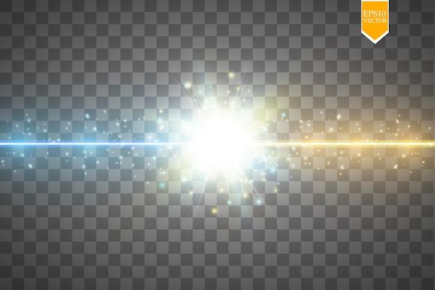 Colisão de duas forças com luz dourada e azul