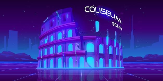 Coliseu de néon no fundo brilhante retrô de ficção científica