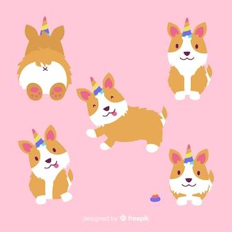 Collectio do caráter do puppycorn de kawaii