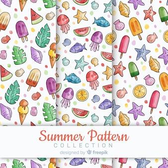 Collectio padrão de verão aquarela