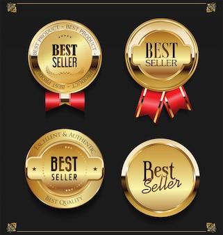 Collection of elegant golden premium melhores rótulos de vendedor