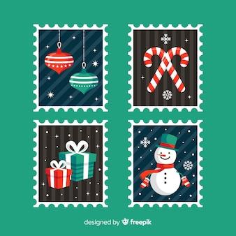 Colllection de selos de natal plana