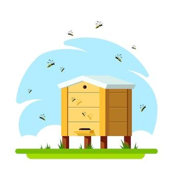 Colmeia com abelhas. conceito de apicultura