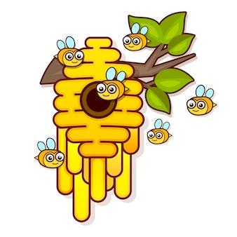 Colmeia de abelha amarela sobre um fundo branco