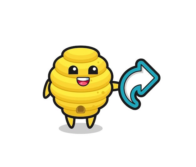 Colmeia de abelhas fofa com símbolo de compartilhamento de mídia social, design fofo