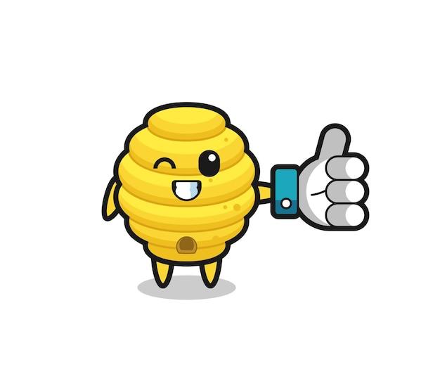 Colmeia de abelhas fofa com símbolo de polegar para cima em mídia social, design fofo