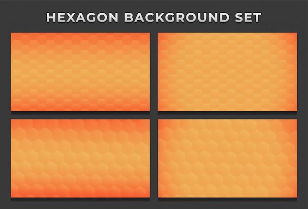 Colmeia de abelhas laranja hexágono hexagonal moderno fundo padrão conjunto