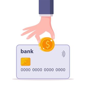 Colocar dinheiro em um cartão de banco. reposição do saldo da conta, ilustração isolada no fundo branco.