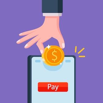 Colocar dinheiro na balança no telefone. pagamento online. ilustração plana.